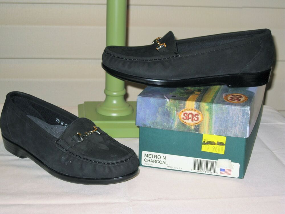 SAS Metro Womens Charcoal Nubuck Loafer Shoes - NEW IN BOX | EBay