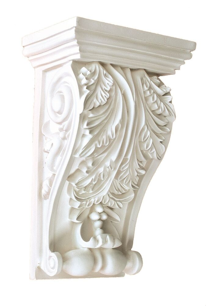 Corbel decorative leaf 8 x 5 inch primed white bracket for for Architectural corbels and brackets