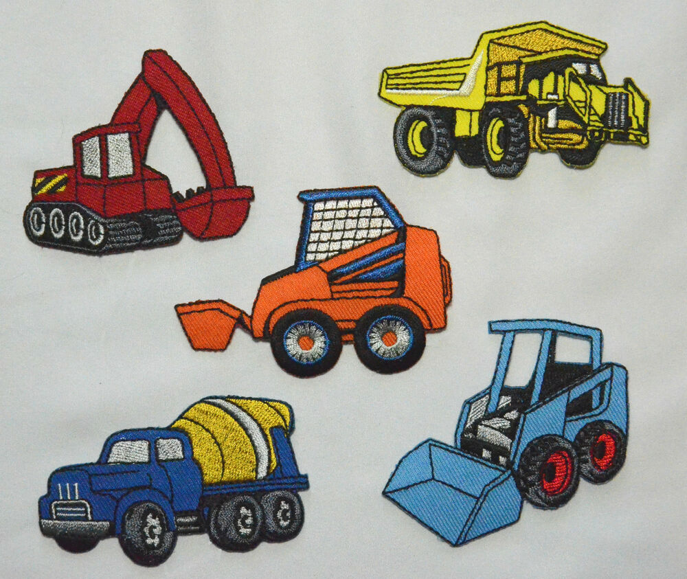 dumper truck digger jcb cement embroidered motif iron on