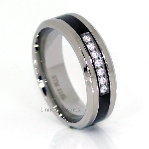 Mens Clear Cz 7 Round Stone Ring With Black 316 Stainless