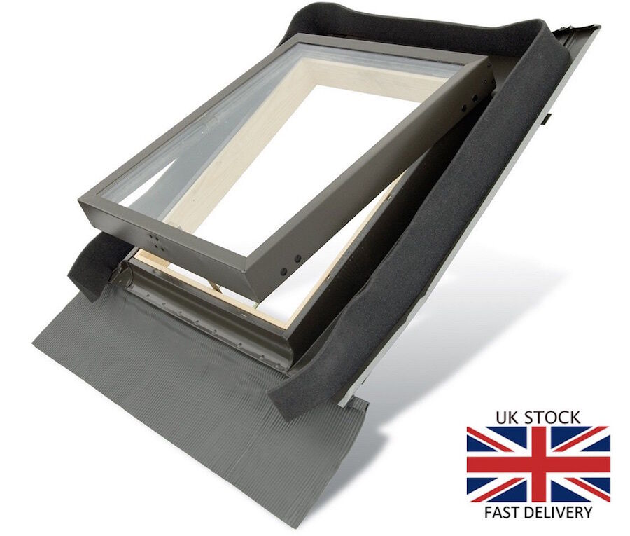 fenstro rooflite double glazed skylight access roof window 45x73 with flashing ebay. Black Bedroom Furniture Sets. Home Design Ideas