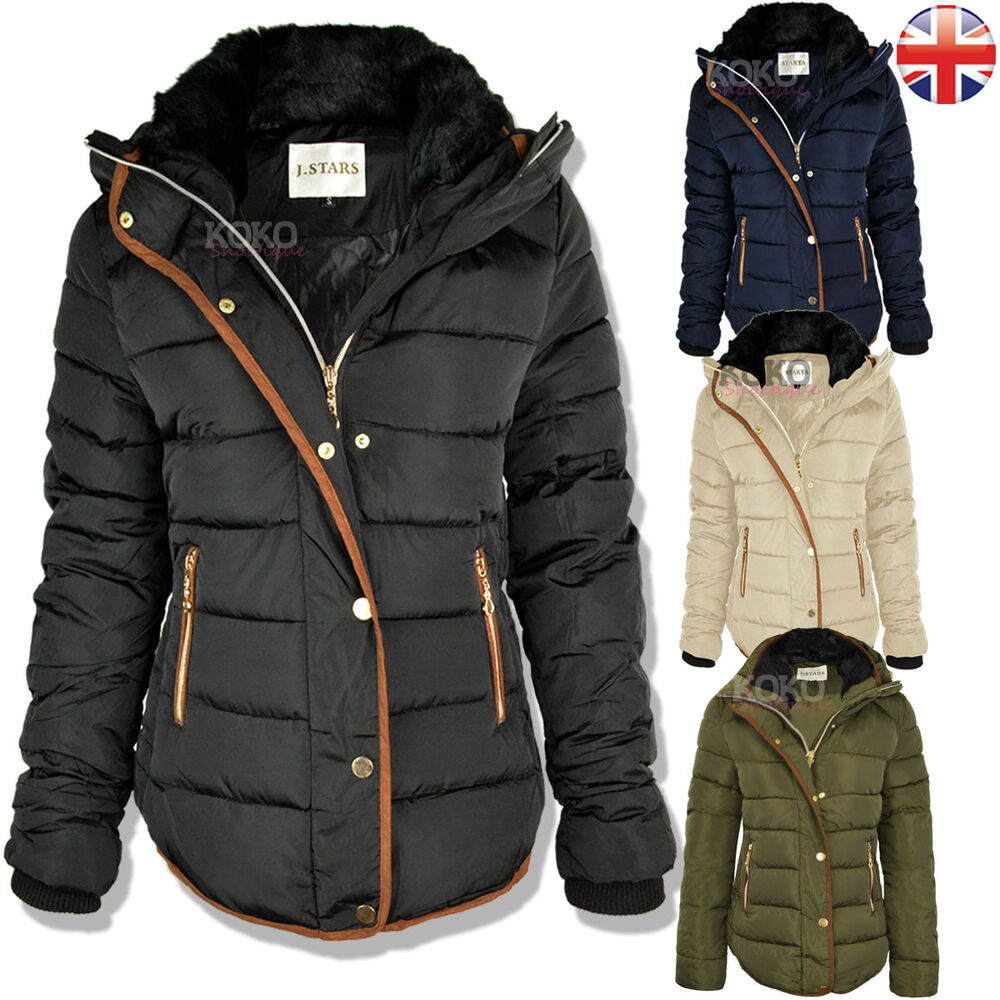 WOMENS LADIES QUILTED WINTER COAT PUFFER FUR COLLAR HOODED