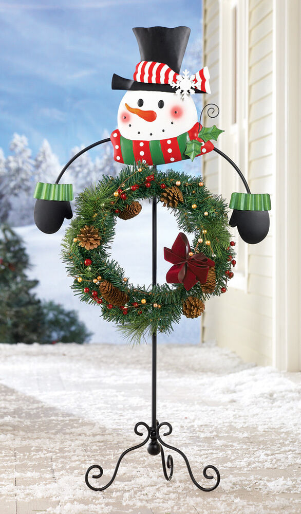 christmas metal snowman wreath holder deck porch patio holiday home decor new ebay. Black Bedroom Furniture Sets. Home Design Ideas