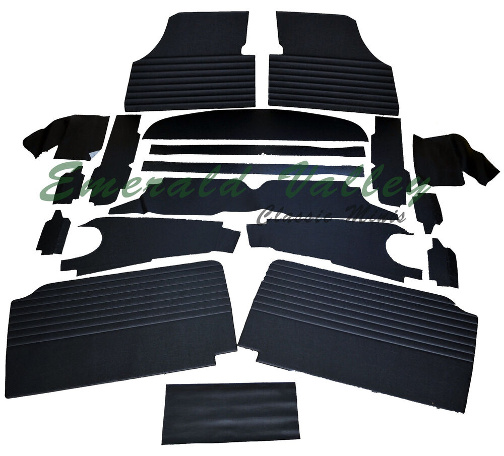 classic mini austin 1959 1970 new 19 piece interior trim kit in black ebay. Black Bedroom Furniture Sets. Home Design Ideas