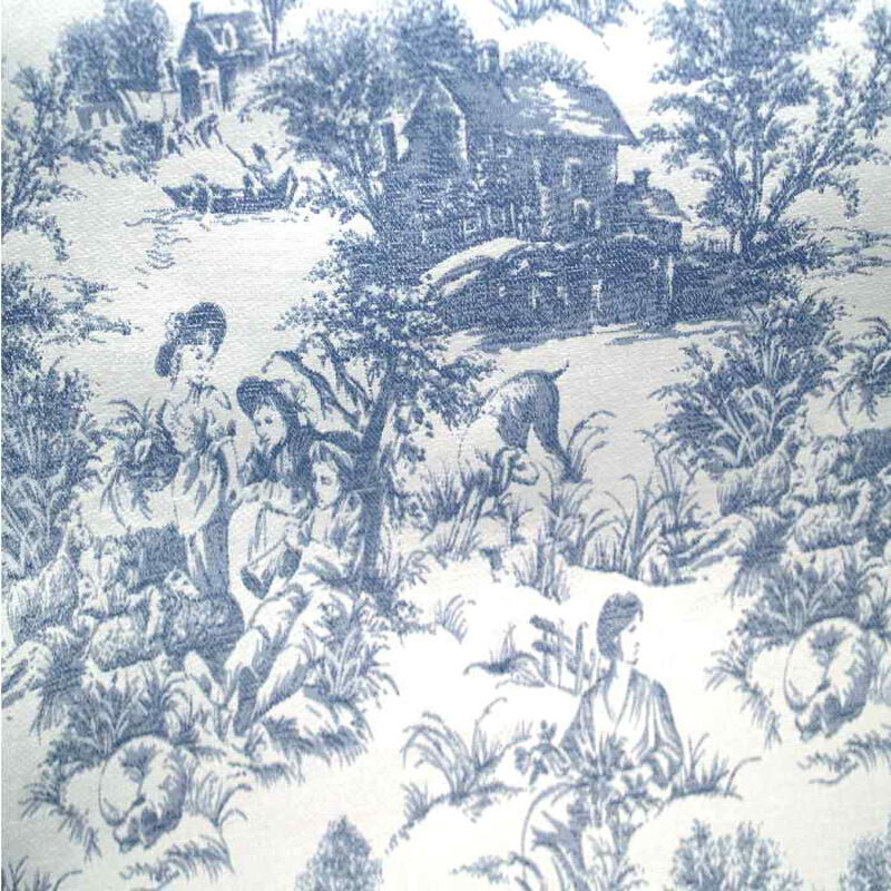 drapery upholstery fabric blue toile on white background ebay. Black Bedroom Furniture Sets. Home Design Ideas
