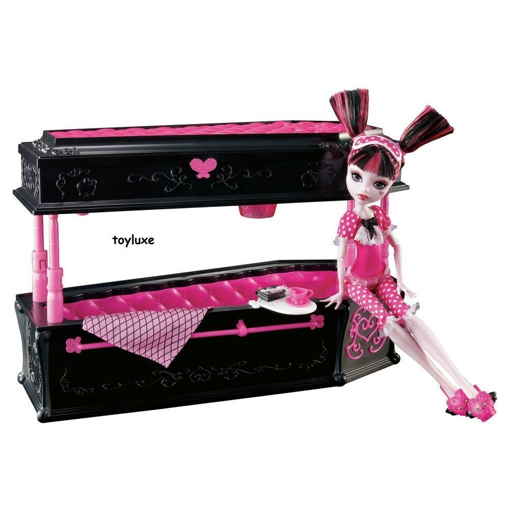 monster high dead tired draculaura doll jewelry box coffin bed furniture set ebay. Black Bedroom Furniture Sets. Home Design Ideas