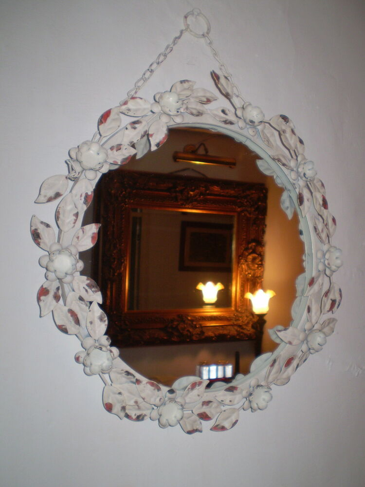 French Vintage Chic Metal Roses Oval Mirror Ebay