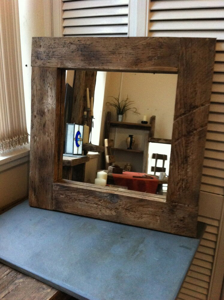 Square Farmhouse Rustic Wooden Mirror Chunky Wide Frame