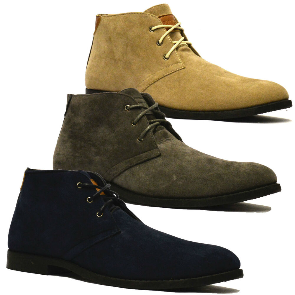 mens new suede style casual retro mod chukka lace dessert
