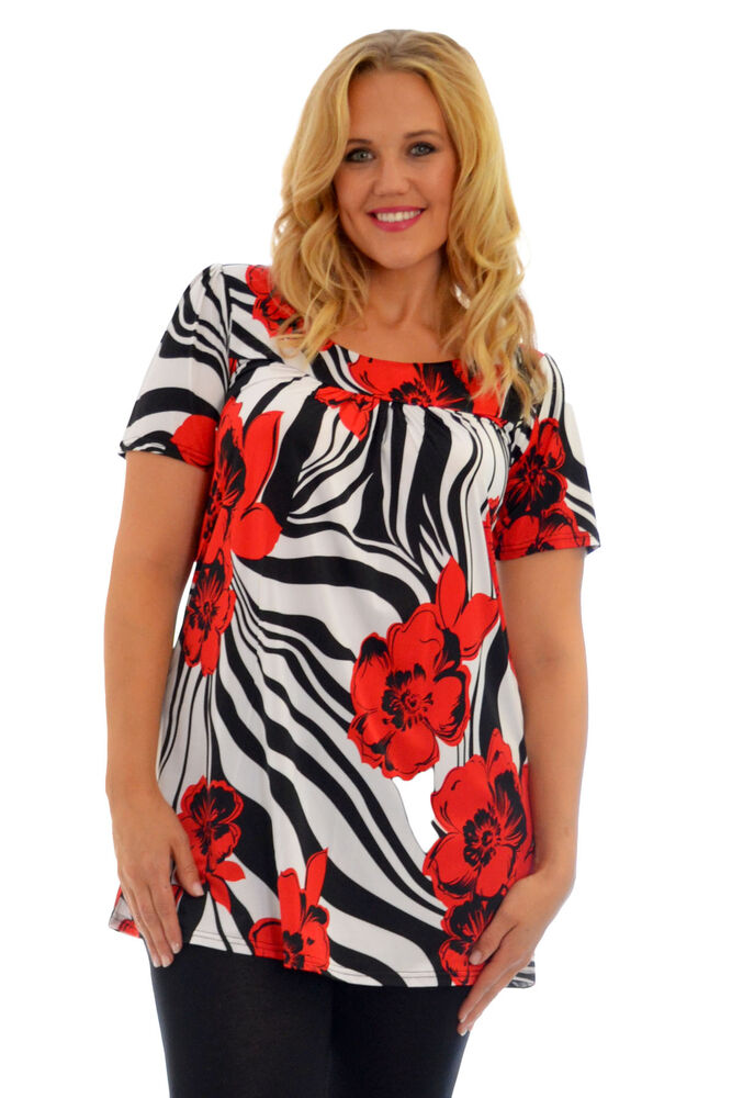 Womens top floral print ladies tunic short sleeve smock for Plus size womens shirts
