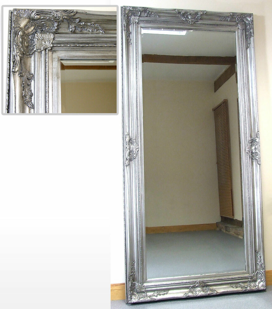 Harrow extra large silver rectangle full length floor wall for Large silver wall mirror