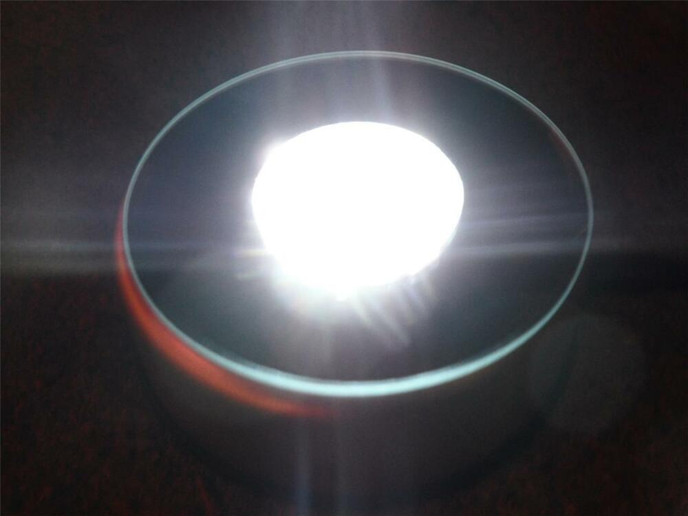 White Led Light Crystal Glass Rotating Electric Round