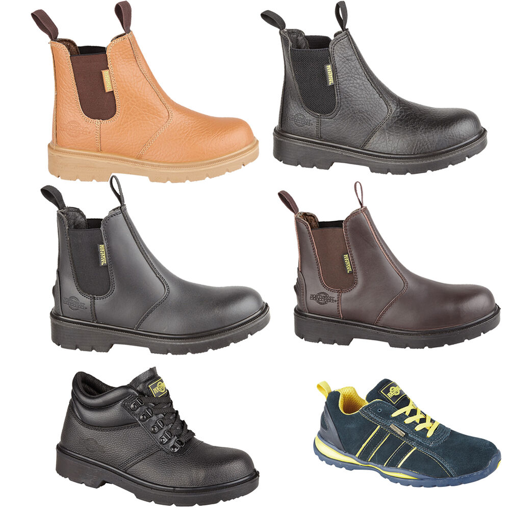 BRAND NEW MENS LEATHER WORK SAFETY ANKLE BOOTS STEEL TOE ...