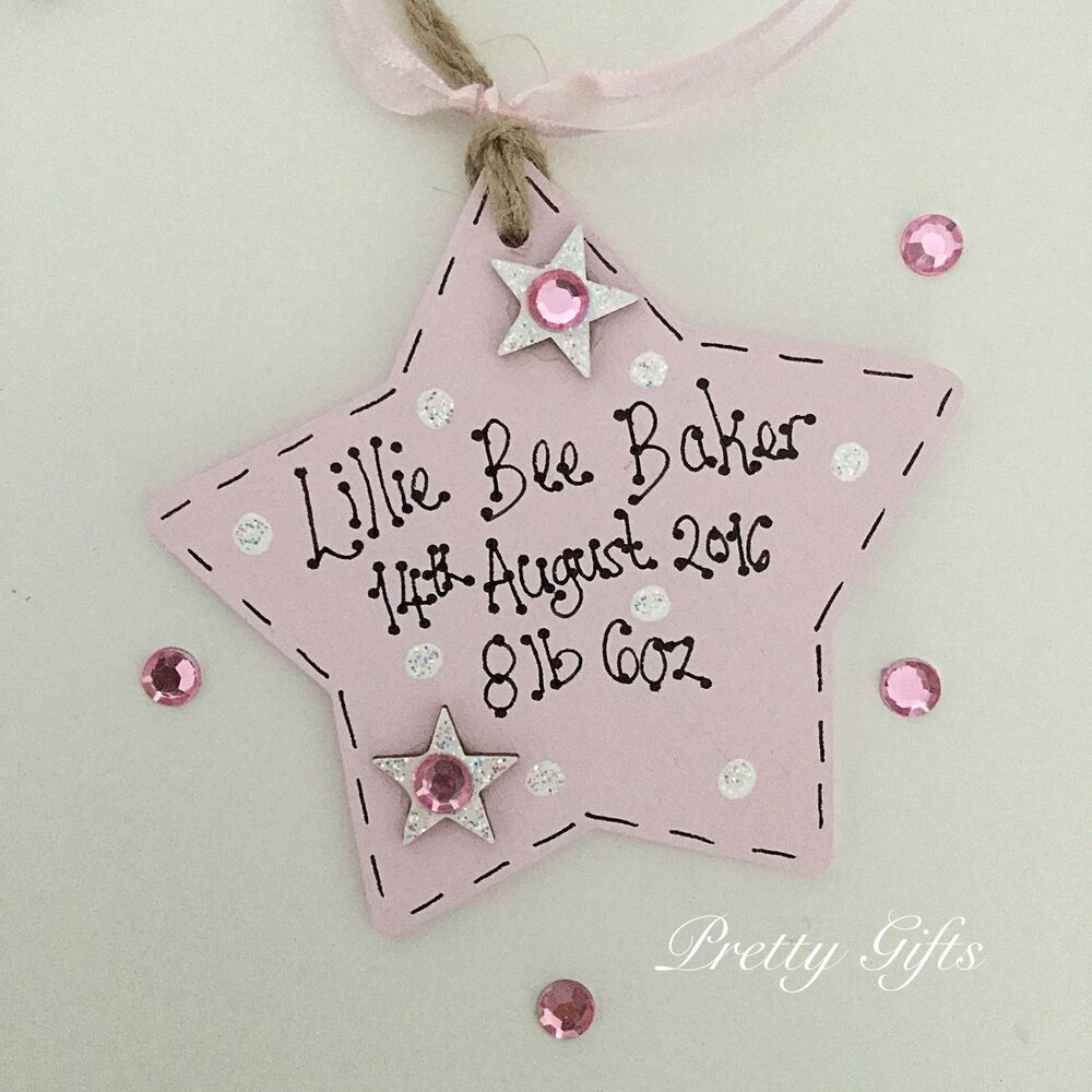 New Baby Boy Gift Tag : Personalised star plaque new baby boy girl gift tag