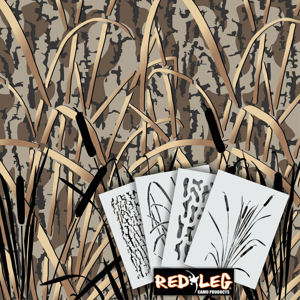 Redleg camo dg6 4 piece camouflage stencil kit 18x26 for Camo paint template