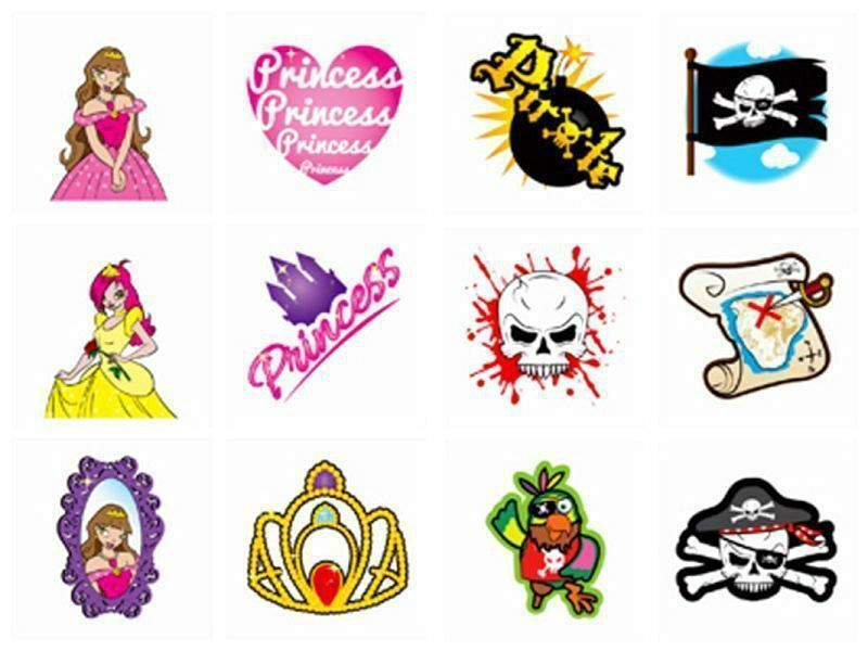 72 childrens pirate princess temporary tattoos loot for Temporary tattoos for kids