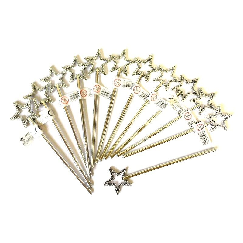 12 x silver fairy star wand princess toy girls party bag for Birthday wand