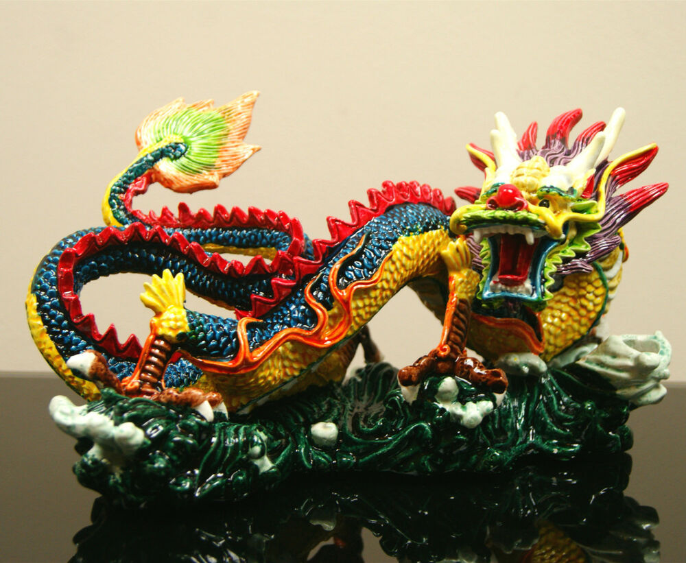 large oriental chinese japanese feng shui colourful fire dragon on sea ornament ebay chinese feng shui dragon