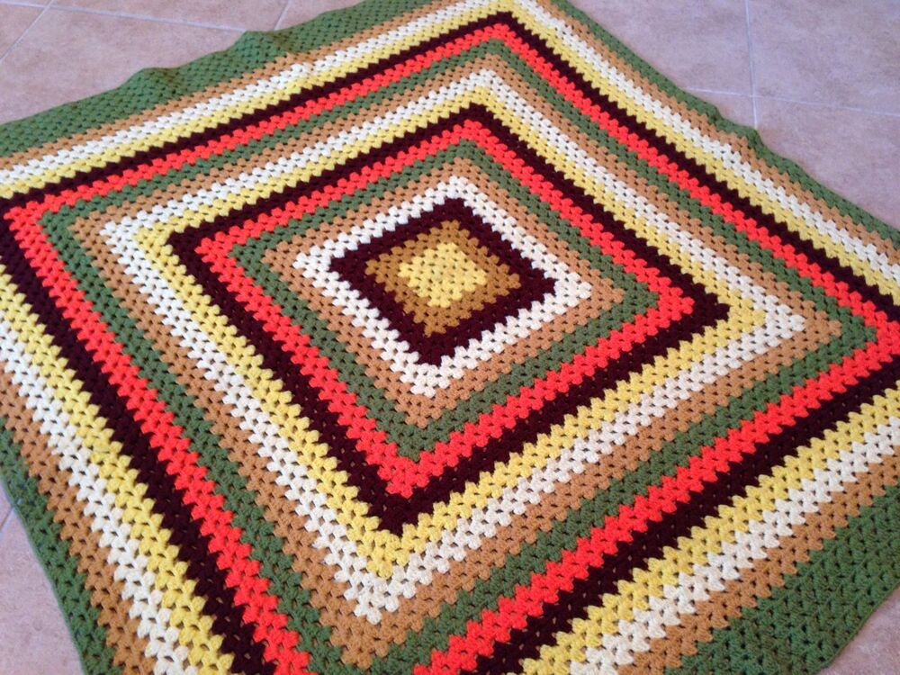 Vintage Retro Hand Made Knit Crochet Granny Afghan Throw ...