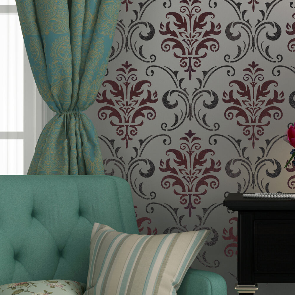 Wall Stencil Pattern Damask Allover Reusable Carol For
