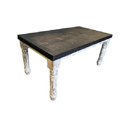 white scraped 6 39 dining table solid real wood rustic western shabby chic lodge ebay. Black Bedroom Furniture Sets. Home Design Ideas