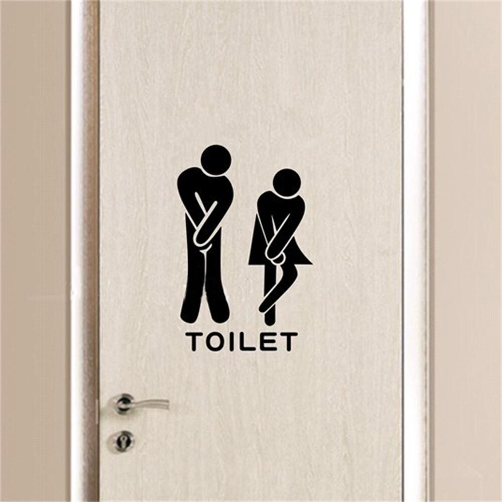 Funny toliet bathroom wall sticker decals washroom vinyl for Bathroom wall decor quotes
