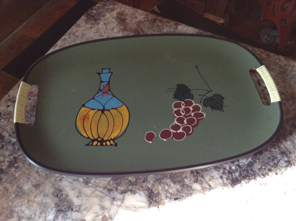 Vintage Plastic Serving Tray 1960s Funky Grapes Wine