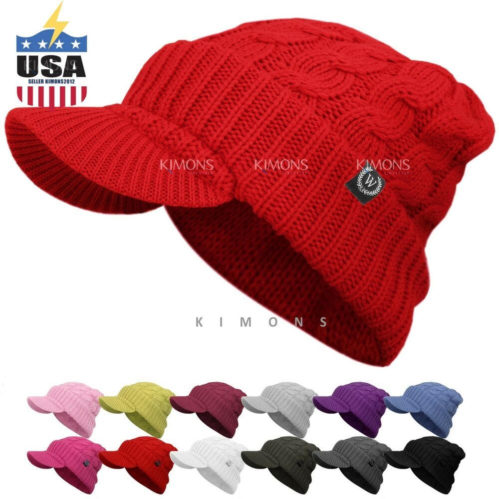 Details about Visor Cable Knit Slouchy Baggy Beanie Oversize Winter Hat Ski  Cap Skull Womens 9ebcc3ca2a9