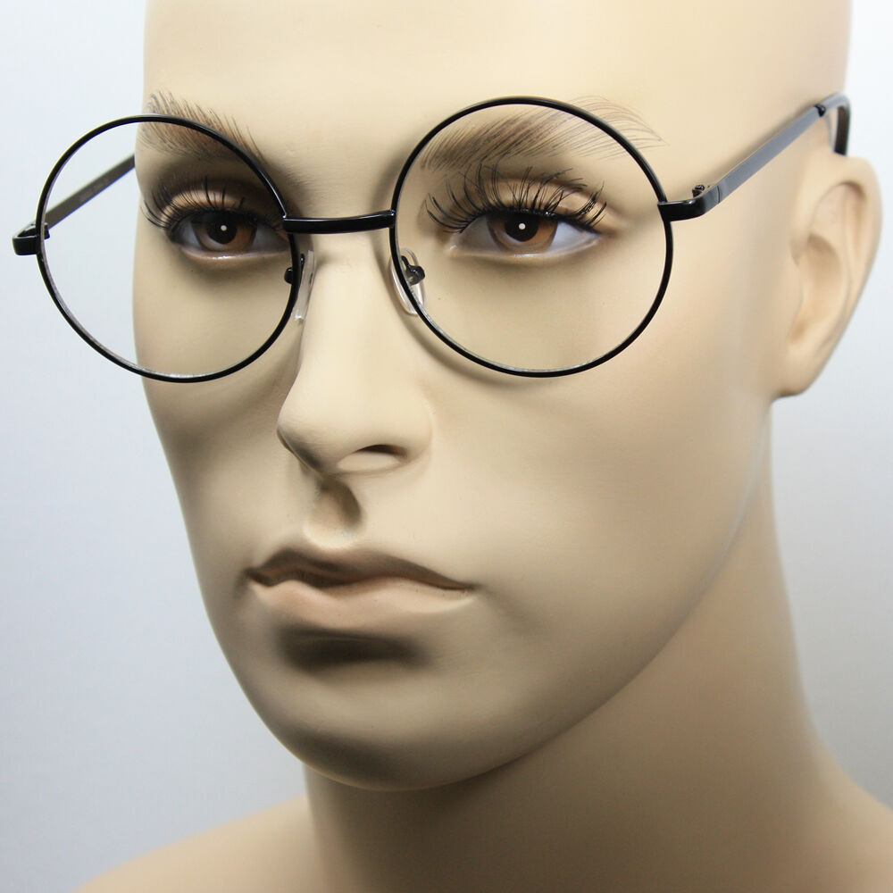 Black Metal Frame Glasses : Large Oversized Big Round Metal Frame Clear Lens Round ...