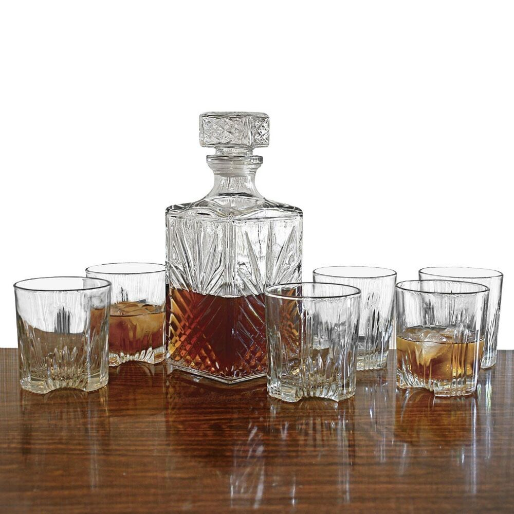 new whiskey glass set 7pc decanter stopper bottle scotch bar rock glasses liquor ebay. Black Bedroom Furniture Sets. Home Design Ideas