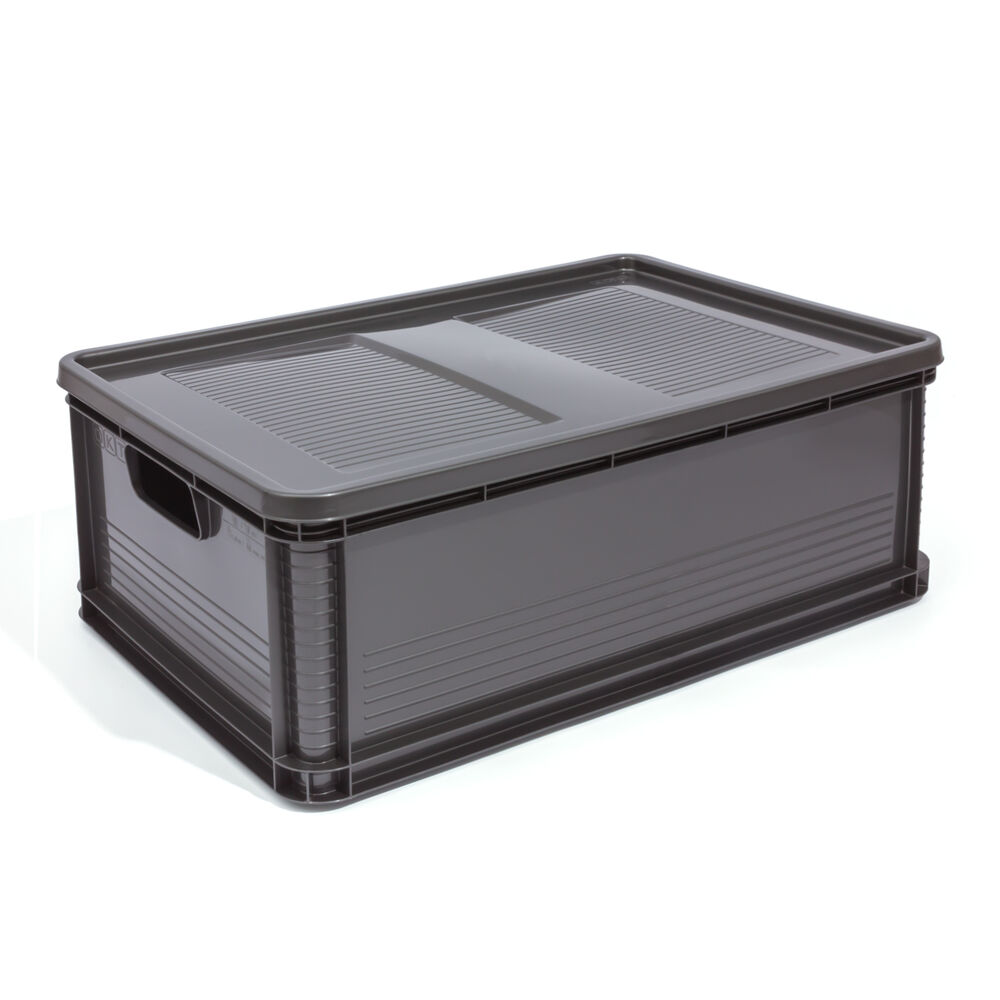 45l lagerkiste euro box stapelbox transportbox mit deckel geschlossene obstbox ebay. Black Bedroom Furniture Sets. Home Design Ideas