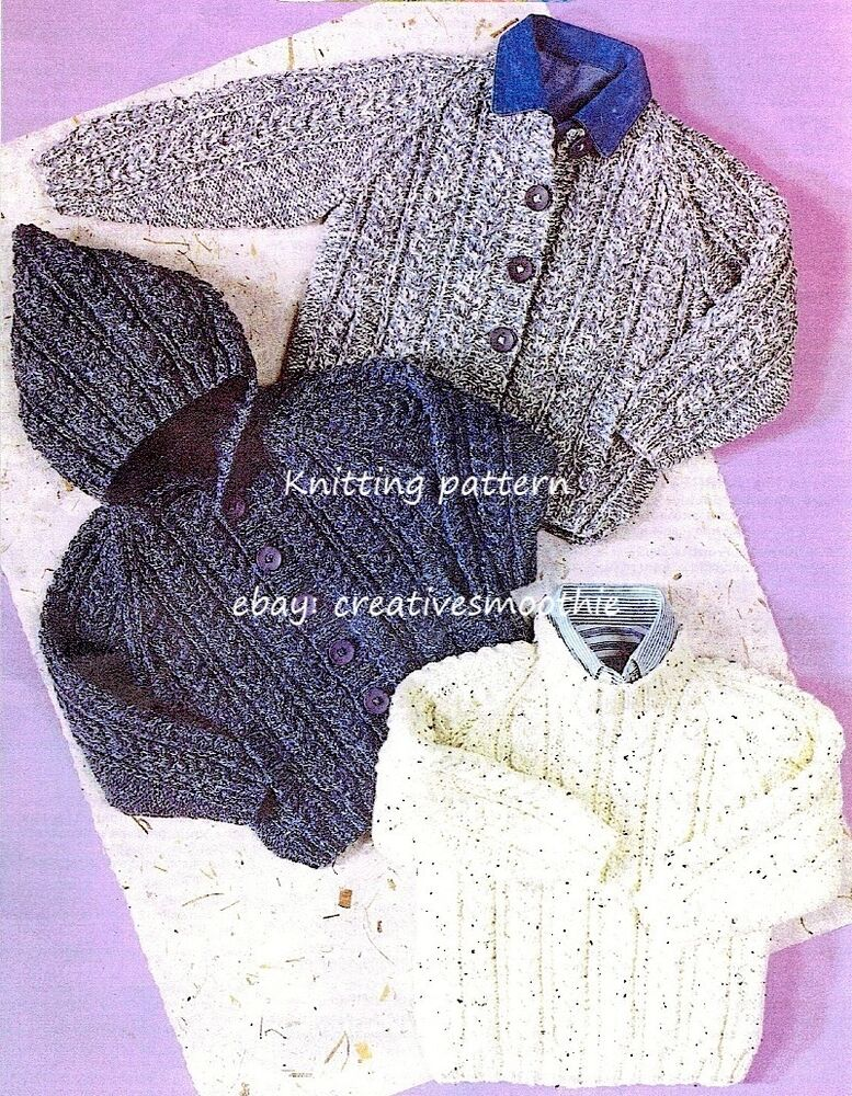267 1 10y Boys Girls Aran Cable Sweater Hooded Jacket