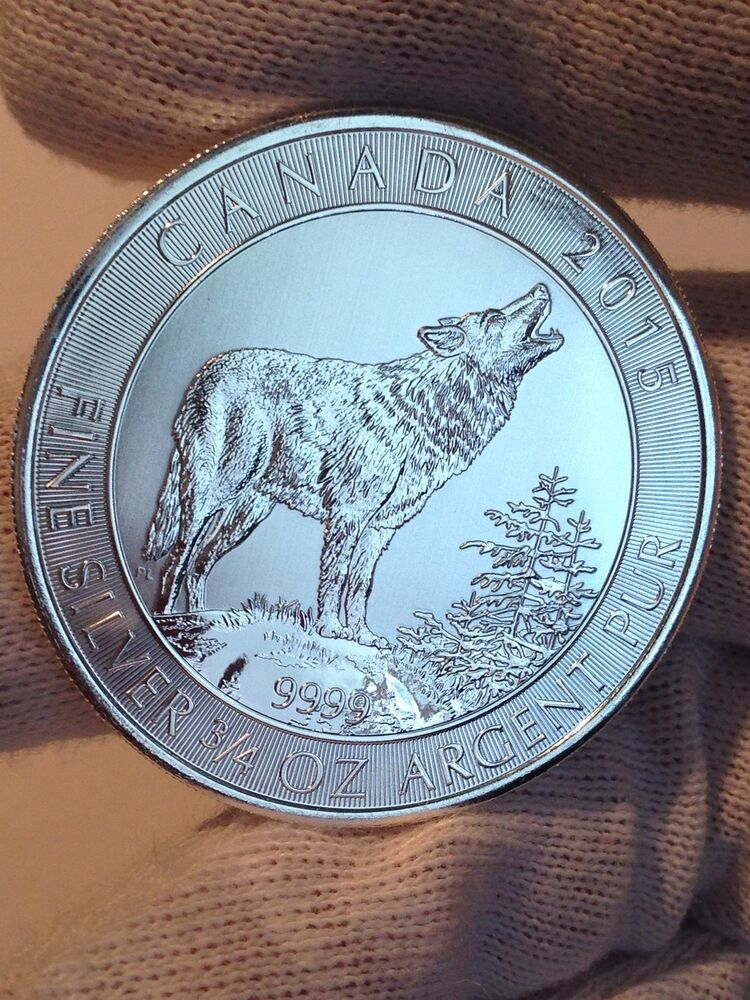 2015 Rcm Quot Grey Howling Wolf Quot 3 4 0 75 Oz 9999 Fine Silver