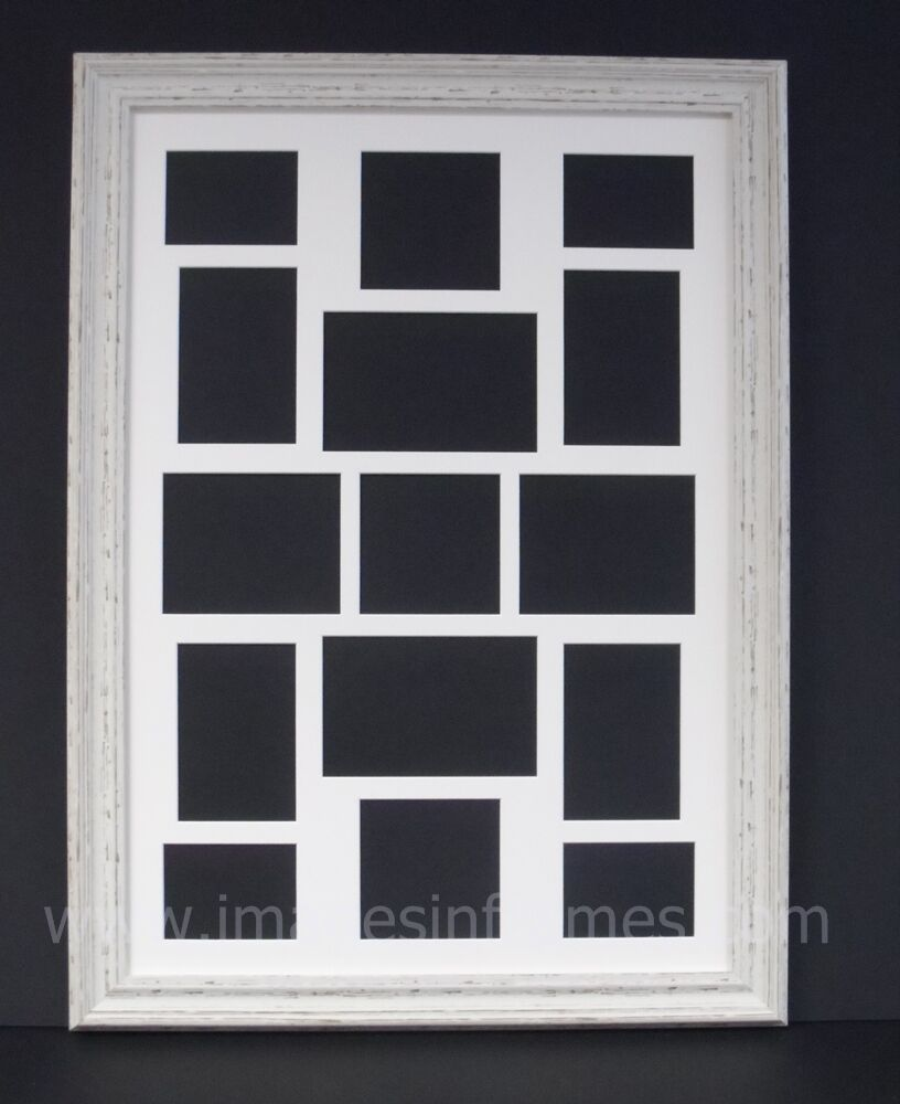large a2 ivory distressed multi picture and photo frame ebay. Black Bedroom Furniture Sets. Home Design Ideas