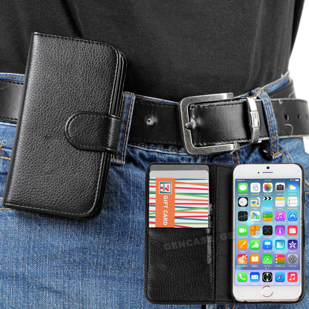 iphone 5 case wallet black classic pu leather wallet with belt clip for 14494
