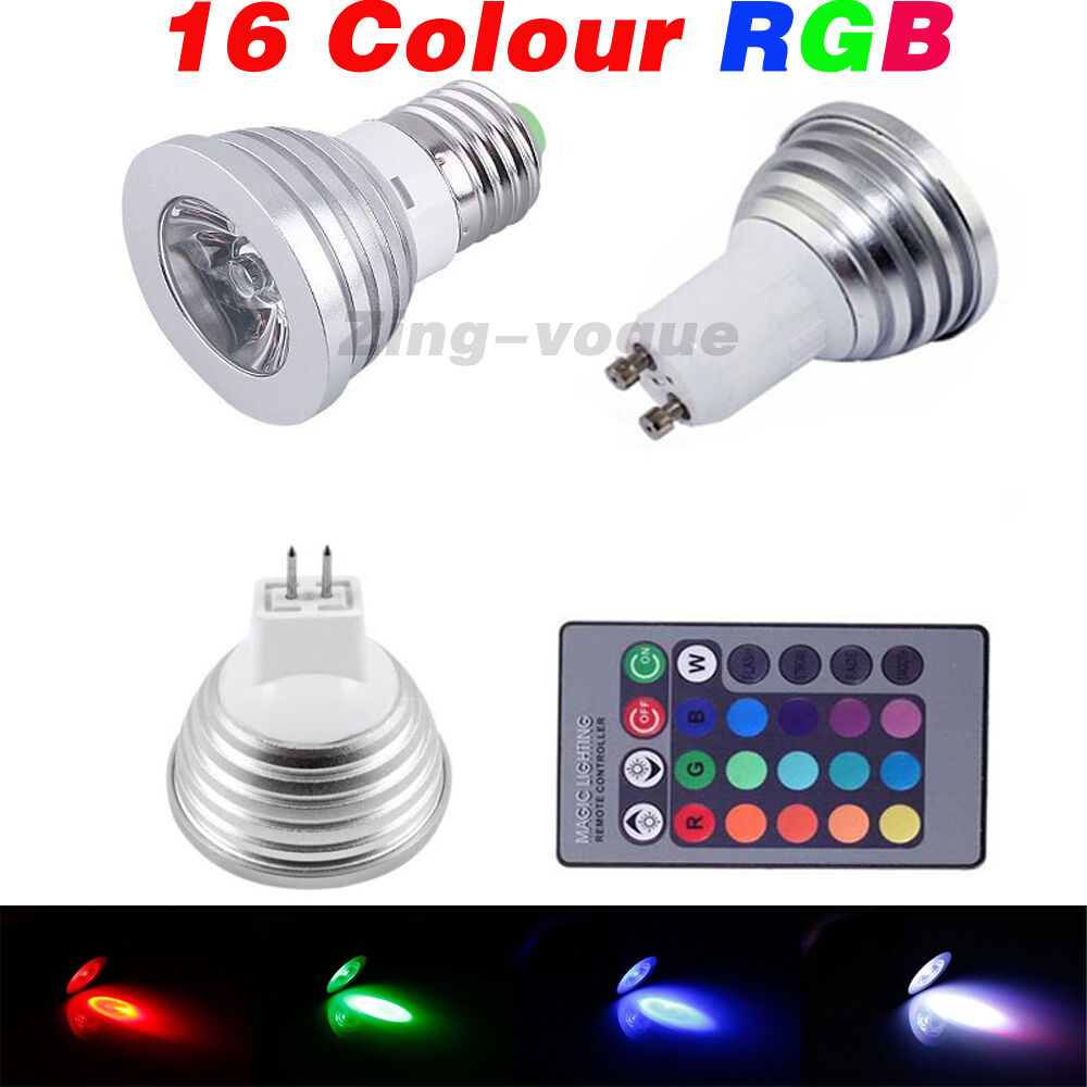 gu10 e27 mr16 3 5w rgb led bulb remote control 16 color changing dimmable light ebay. Black Bedroom Furniture Sets. Home Design Ideas