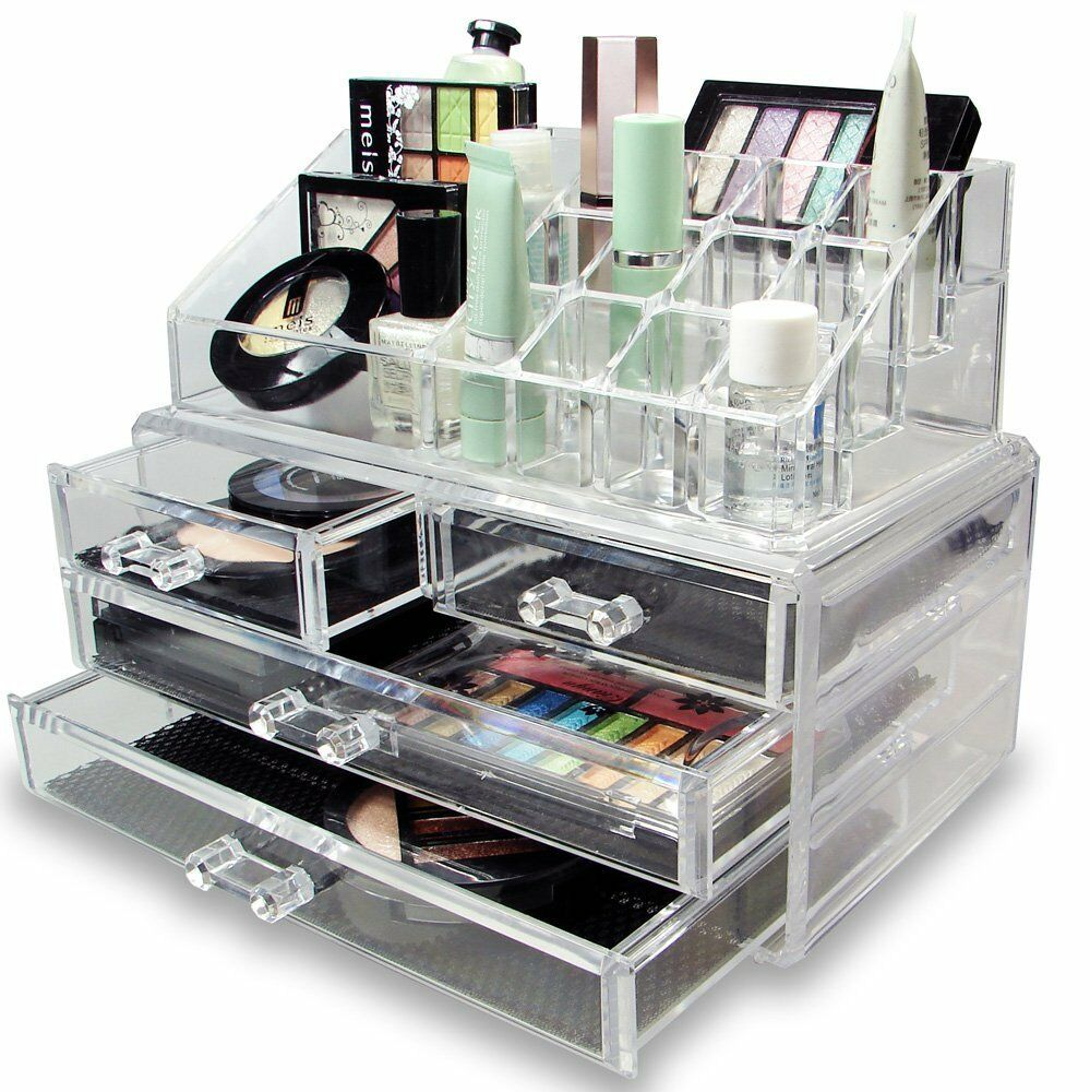 Cosmetic Holder Large 4 Drawers Jewelry Chest Make Up Case