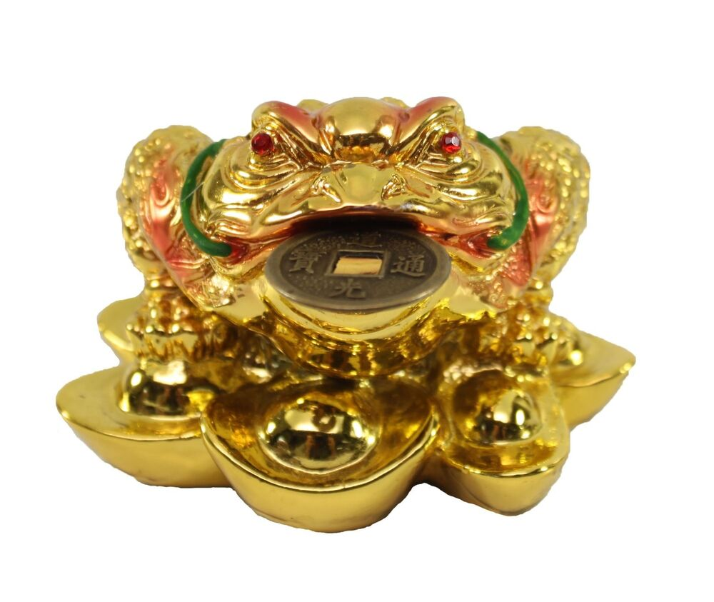 fortune gold money coin frog toad feng shui decoration charm of prosperity ebay. Black Bedroom Furniture Sets. Home Design Ideas