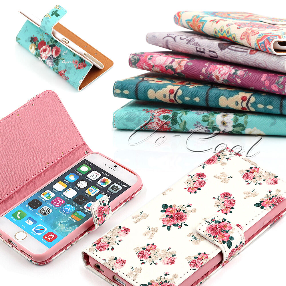 Case Design rock phone cases : FLIP LEATHER VINTAGE FLORAL WALLET STAND CASE COVER FOR IPHONE 6/ 6 ...