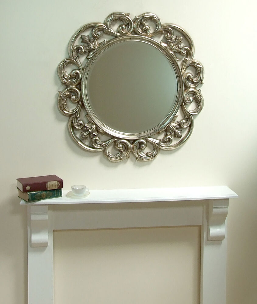 chartwell large silver round wall mirror 36 diameter ebay. Black Bedroom Furniture Sets. Home Design Ideas