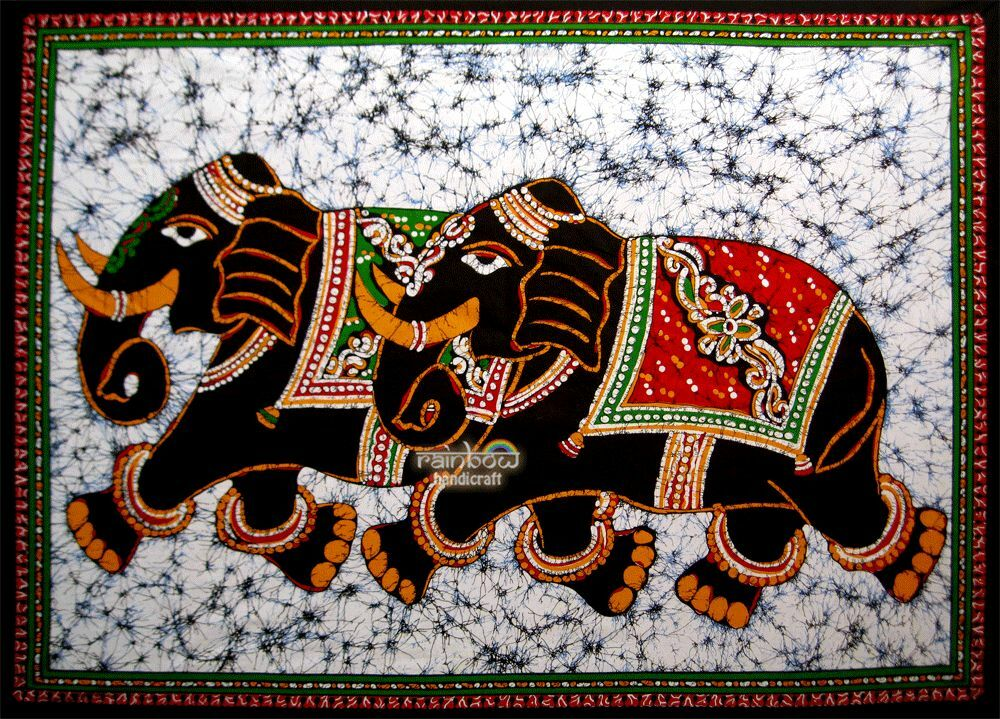 Art Décor: Elephant Batik Wall Hanging Cotton Hand Painted Tapestry