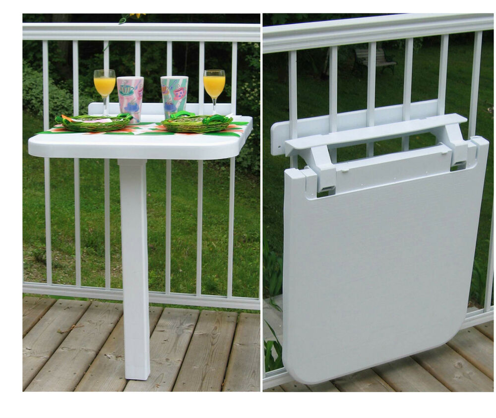 Plastic folding balcony table color sand ebay - Table balcon pliante rabattable ...