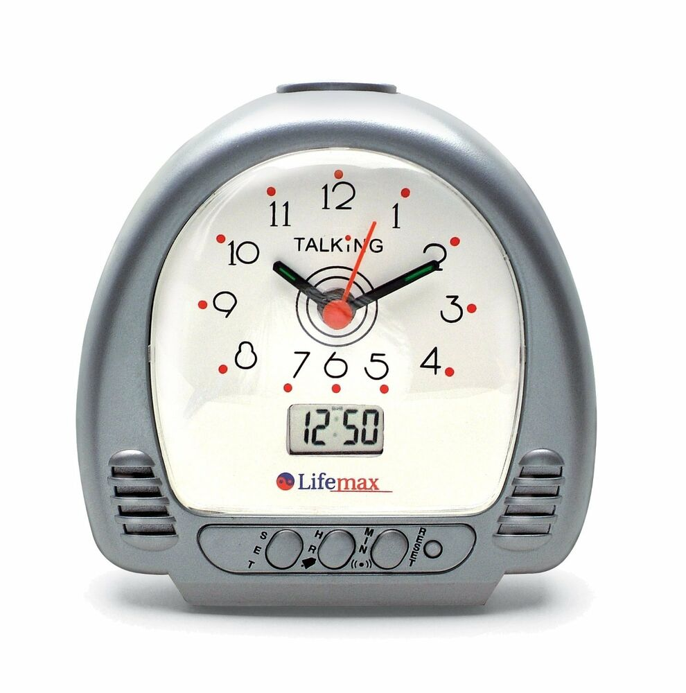 lifemax talking alarm clock dual analogue digital time visually impaired voice ebay. Black Bedroom Furniture Sets. Home Design Ideas