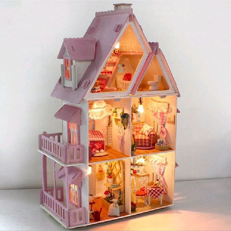Diy handcraft miniature project kit wooden dolls house my for Casa delle bambole fai da te