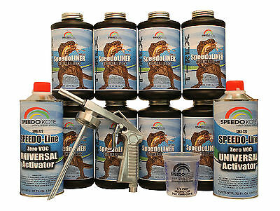 T-Rex Black spray-on truck Bed Liner, SMR-1000-K8 Truck Bedliner kit w/Free Gun