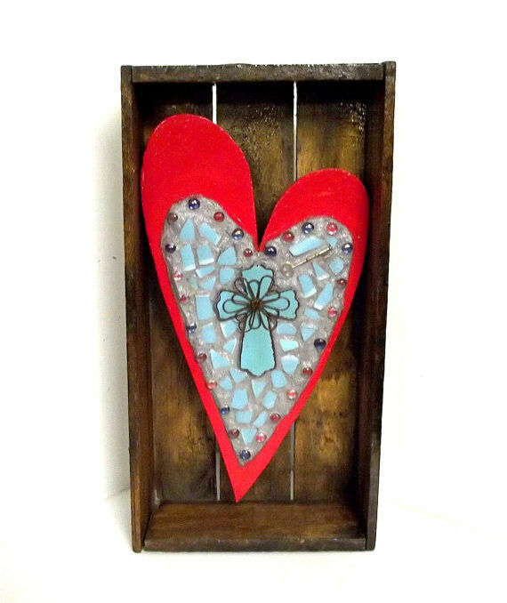 Red heart and turquoise cross mosaic assemblage wall art for Faith decor