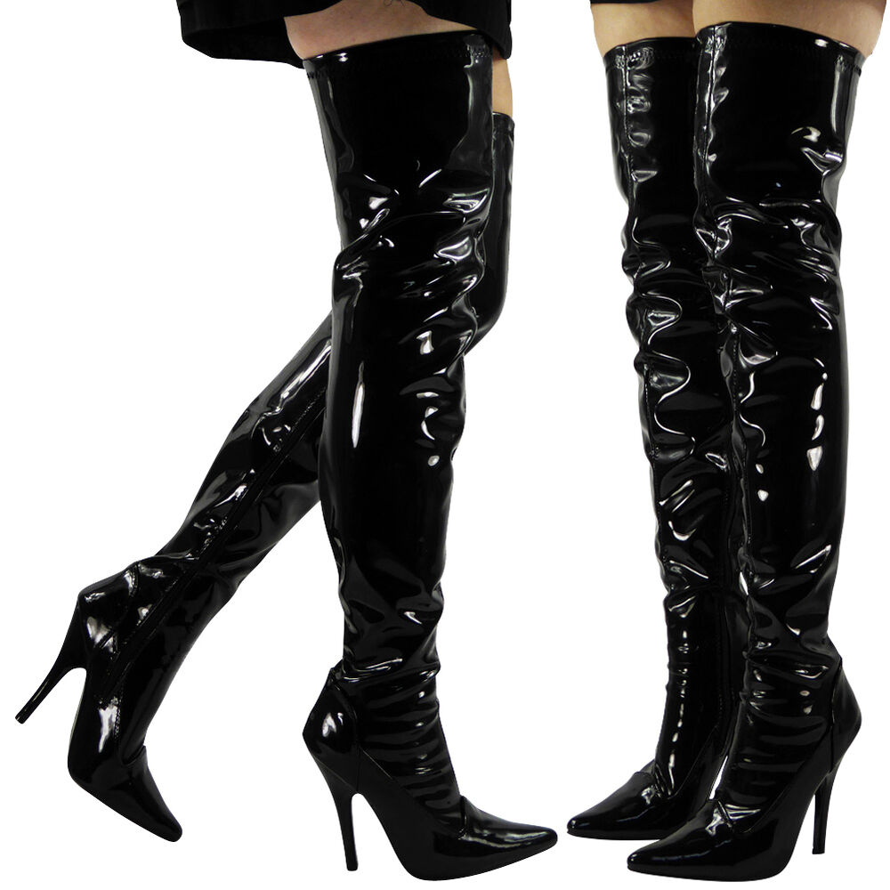 Sexy Fetish High Heel BDSM Buckled Knee Boots and
