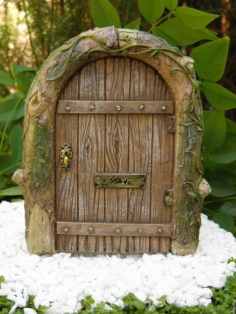 Miniature dollhouse fairy garden gnome resin mystical for Fairy house doors