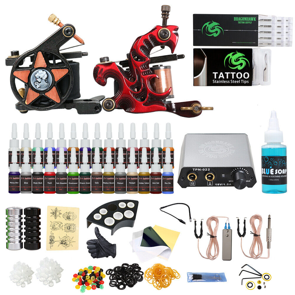 New pro tattoo kit new style 2 tattoo machine guns 28 inks for How to set up a tattoo machine