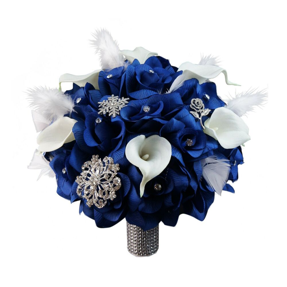 Bridal bouquet w brooches feather royal blue white ribbon for White and blue flower bouquet